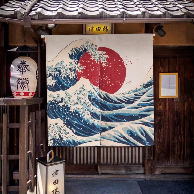 Japanese Noren Doorway Curtain Tapestry Ukiyo-e Prints Kitchen Door Curtain Cotton Linen Home Wall Decor 85X120CM