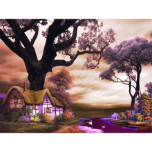 Frameless Purple Landscape DIY Painting By Number Wall Art Picture Paint Canvas For Home Decor Artwork
