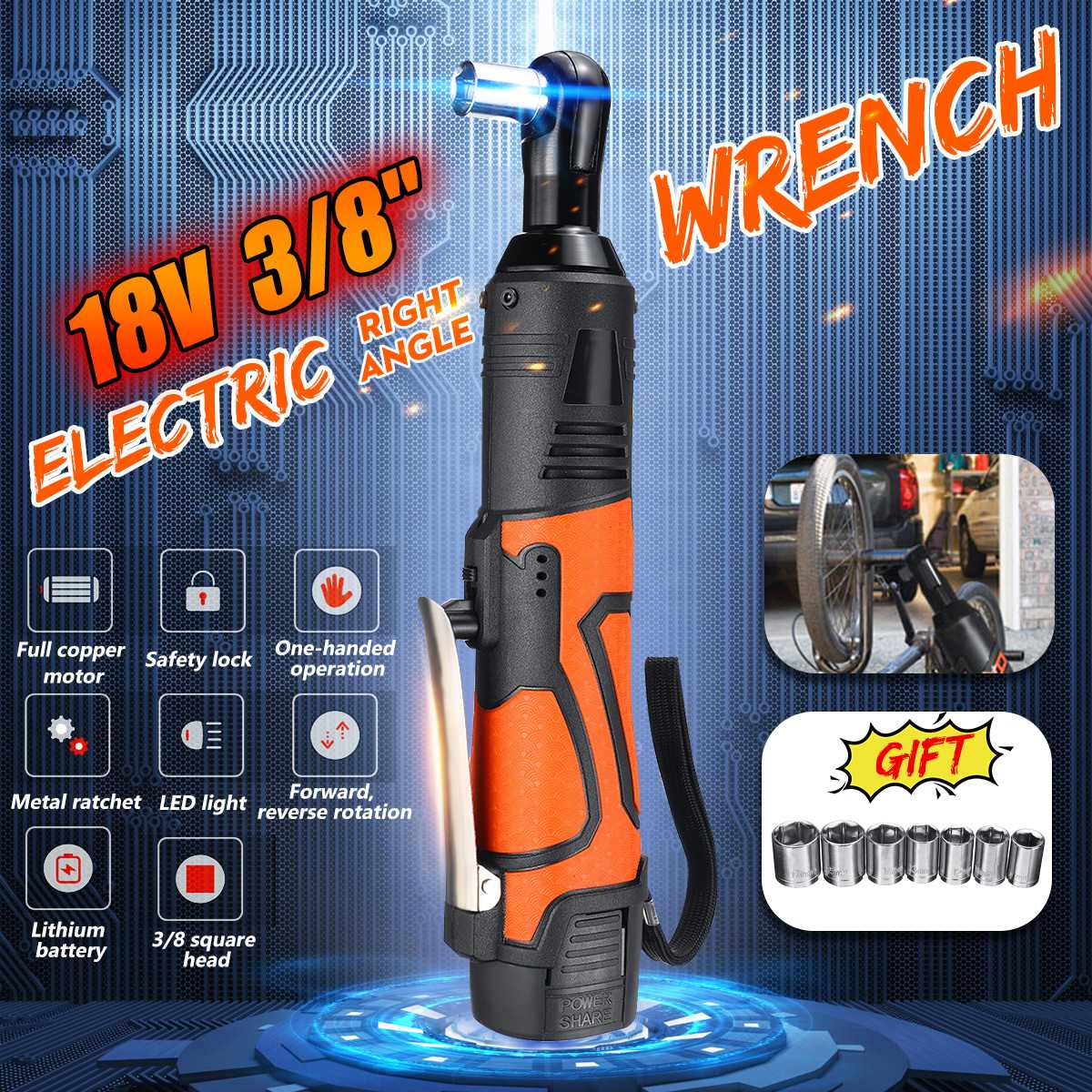 18V Portable Cordless Electric Wrench 3/8 60N.m Rechargeable Ratchet 90 degree Right Angle +Wrench Power tools Set18V Portable Cordless Electric Wrench 3/8 60N.m Rechargeable Ratchet 90 degree Right Angle +Wrench Power tools Set