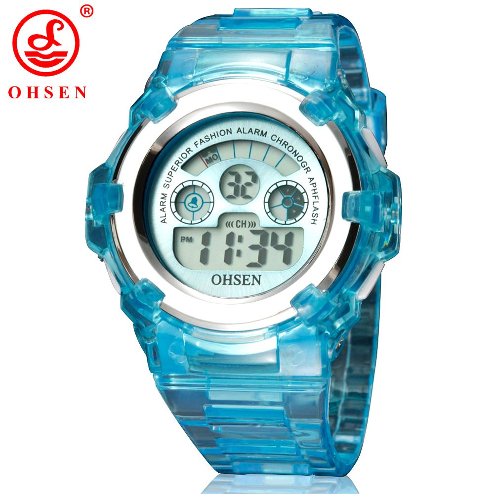New Clock OHSEN Boys Girls Children Watch LED Light Digital Watch Army Sports Watch Black Rubber