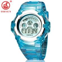 Nuevo Reloj OHSEN Niños Niñas Niños Reloj LED Digital Light Reloj Ejército Reloj Deportivo Correa De Caucho Negro Relojes de Pulsera Electrónica