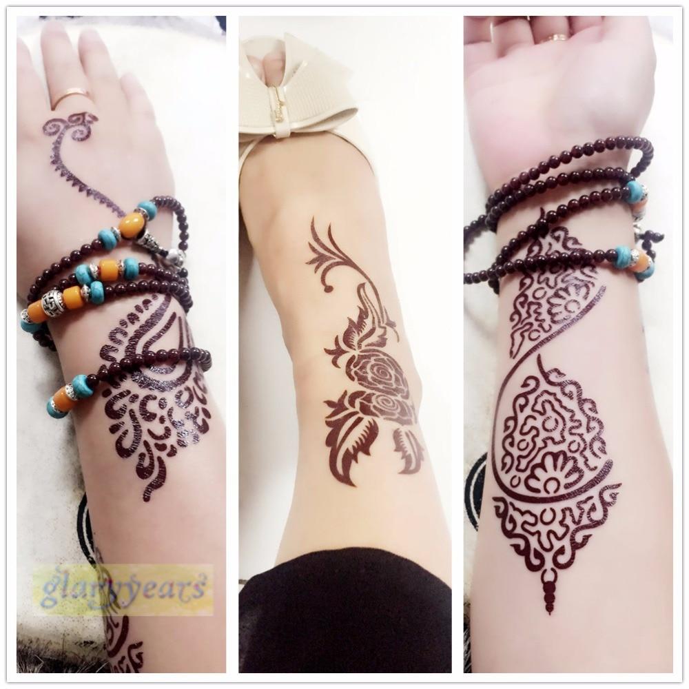 1 Pc Kilat Logam Tato Tahan Air Wanita Coklat Tinta Mehndi Henna