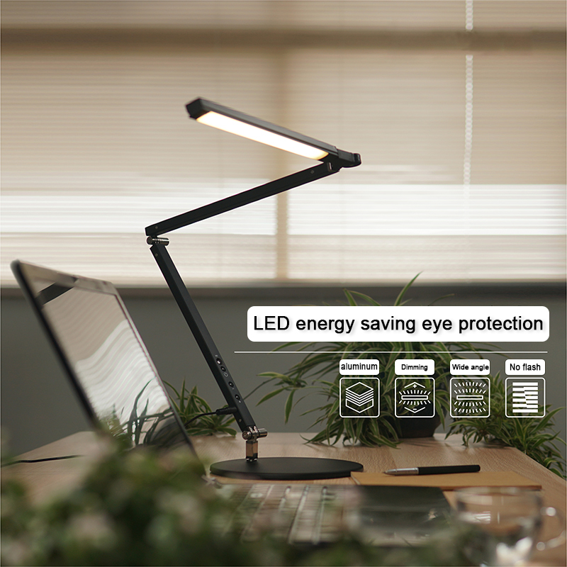 Modern 8W Manicure Desk Lamp White Black Silver body Three Color Temperature Remote Control Adjustable Lamp