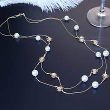Double Layers Crystal Beads Long Necklace Women Bijoux New Fashion Simulated Pearl Jewelry Fine Gifts For Mother Ladies Party