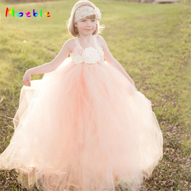 cd75f91331 Peach Flower Girls Tutu Dress for Summer Girl Beach Dresses Bridesmaid Wedding  Dress Kids Party Dresses
