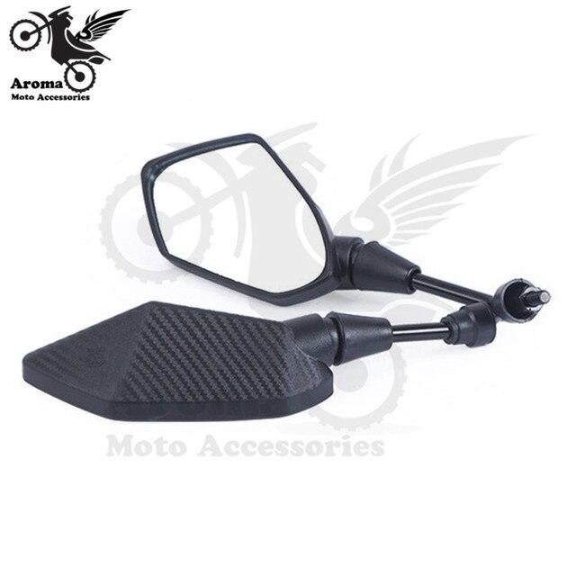 black carbon fibre color universal 10mm 8mm screw motocross ATV Off-road dirt pit bike motorbike side mirror for benelli yamaha suzuki kawasaki honda cb500x cb650f pcx 125 accessories moto rearview motorcycle mirror 2