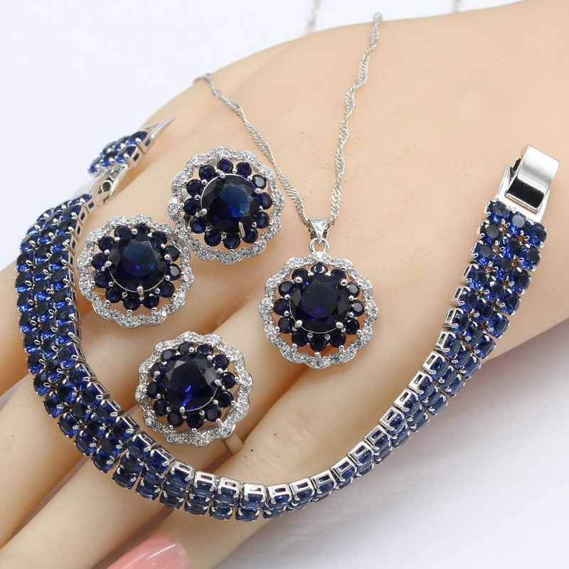 Wedding & Engagement Jewelry 2018 New Dark Blue Crystal Silver Color Jewelry Sets For Women Stud Earrings Bracelet Rings Necklace Pendant Free Gift Box Soft And Antislippery