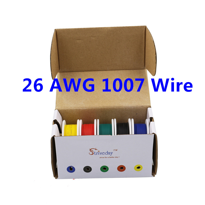 50m UL 1007 26AWG 5 color Mix box 1 box 2 package Electrical Wire Cable Line Airline Copper PCB Wire