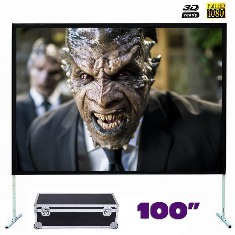 Fast Fold Projector Screen 100 inches Quick Folding Projection Screens for Outdoor Concerts Exhibitions Cinema 4:3/16:9 optional
