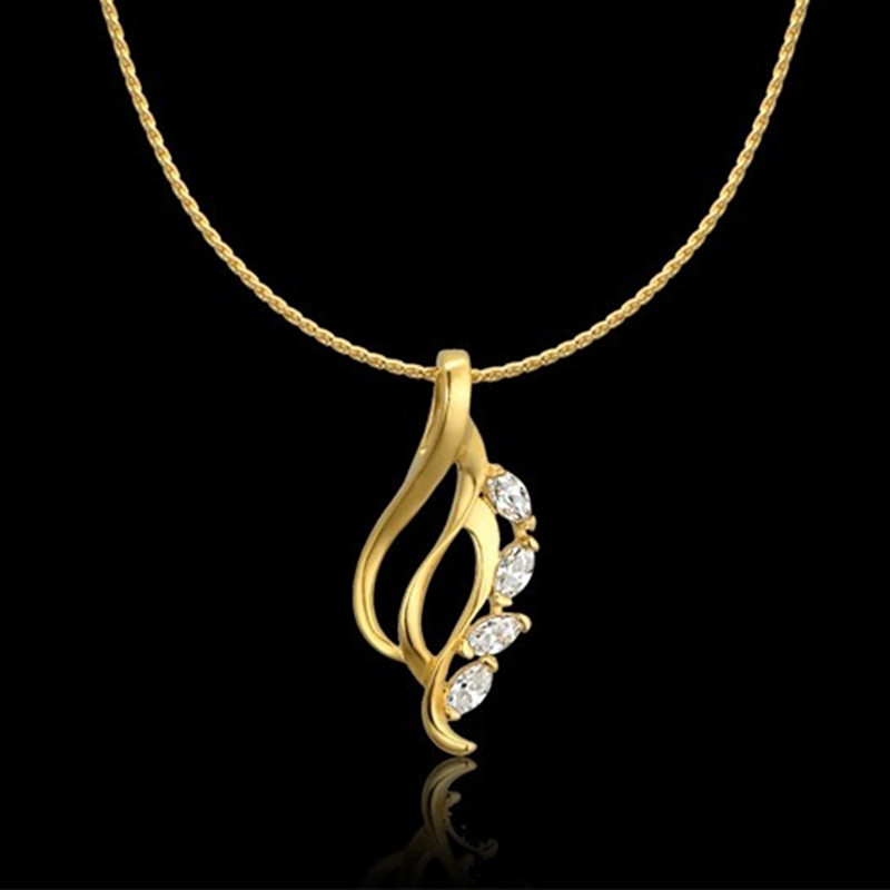 Collier Female Gold Chain For Women Female Gold Color Zircon ...