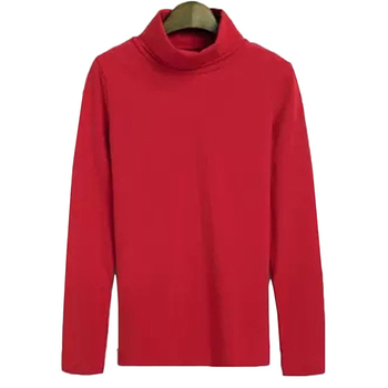 Otoño mujeres alto cuello camisa de fondo mujeres negro slim adelgazamiento camisa femenina de algodón de manga larga de color sólido Top camiseta A873