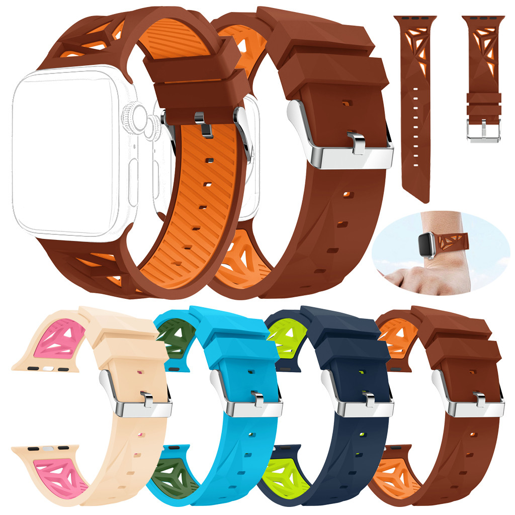 Smart Accessories New Fashion Sports Silicone Bracelet Strap Band For Apple Watch 4/3/2/1 38/40mm Mild And Mellow Wearable Devices