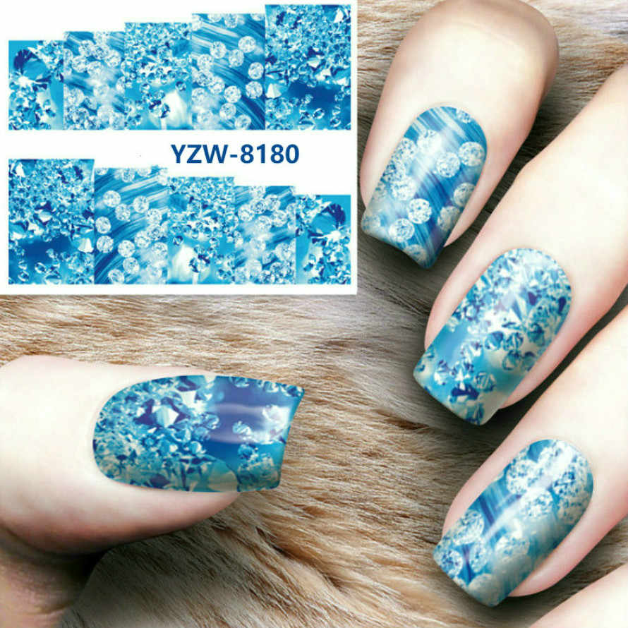 1pcs New Magic Flower Water Transfer Nail Art Templates Pure Clear Jelly Silicone Nail Stamping Plate Scraper Cap Transparent N8