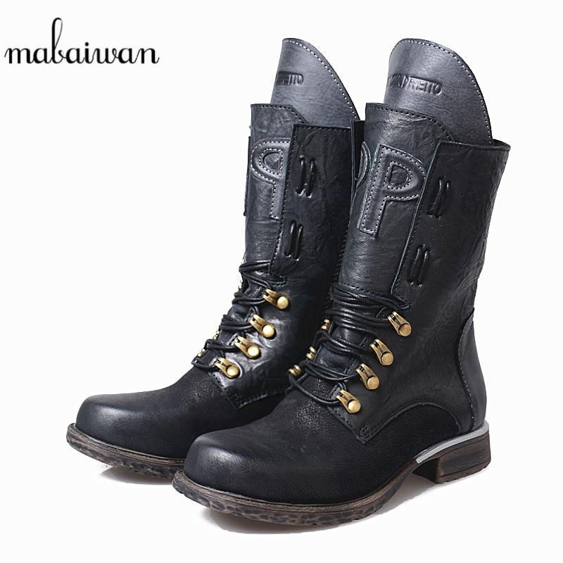 4e1d2e1744 Vaquero Con Botas Negro Black Mabaiwan coffee Mujeres Plano Auténticos  Invierno Botines Mujer Cortas Cuero Nieve Nueva Talón De Cremallera Militares  Zapatos ...