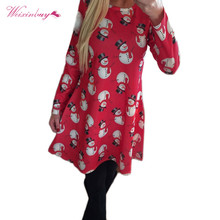 Autumn Burst Models Christmas Snowman Women Dress Snowflake Printed Long Sleeve Female Dresses