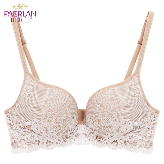 PAERLAN Seamless Wire Free lace bra small breasts Push Up One - Piece sexy Back Closure Tow Hook - and - eye underwear Women Cup 2