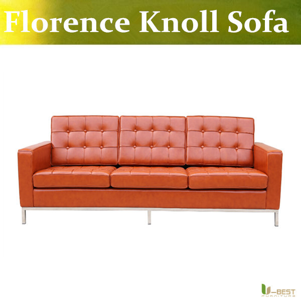 U-BEST Florence Knoll Style 3 Seat Sofa,comfort and wonderful real leather upholstery classic sofa,model room furniture