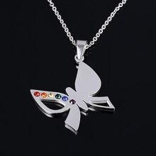 Gay Pride Multi-color Butterfly Pendant Titanium Steel Necklace