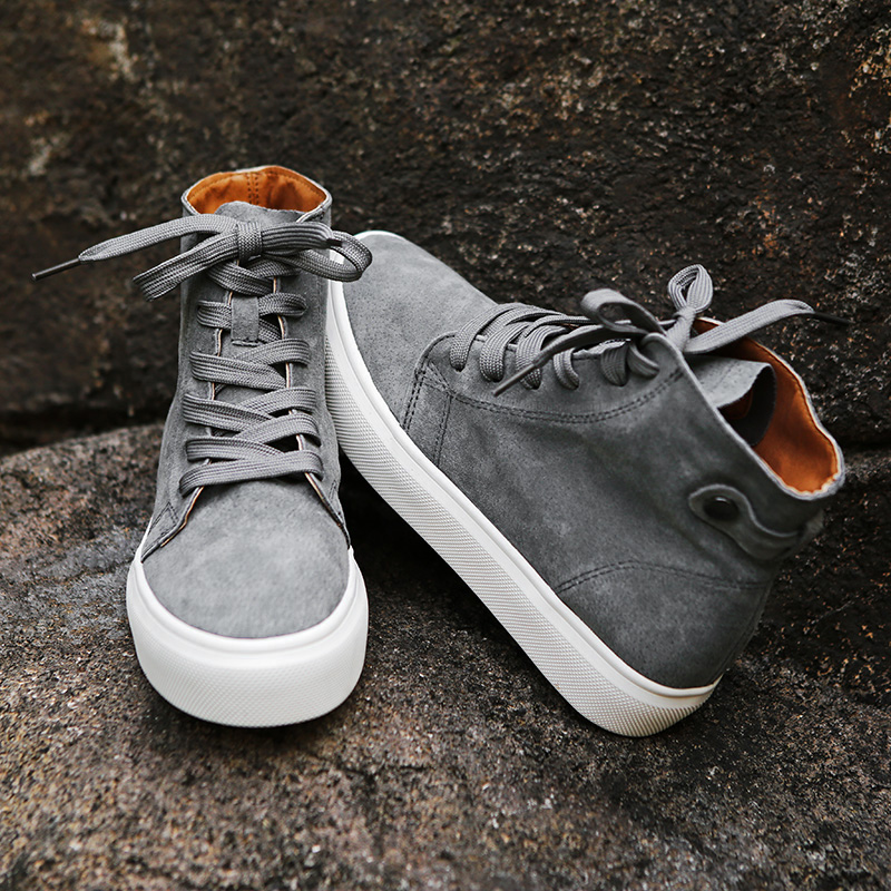 Plate Printemps Top Noir Chaussures Pu Femmes De forme Lacets Casual Nouveau En Appartements Mode kaki gris Cuir À High FqPZdgwxd