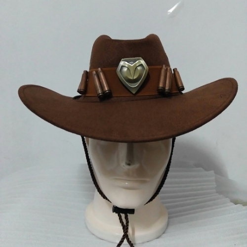 OW Watch Over Mccree Hat Cowboy Cap With Metal Copper Badge Bullet Crafts Costume BAMF Buckle Leather Belt for Men