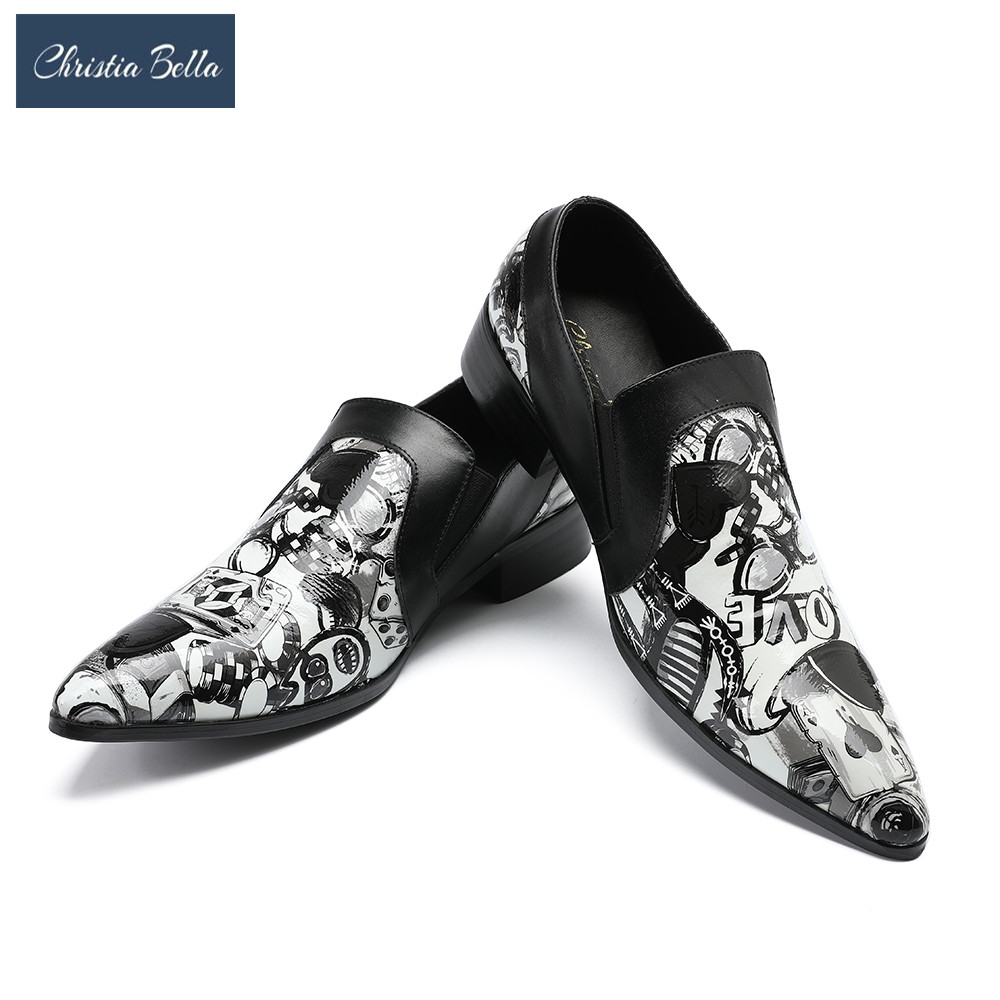 Christia Bella New Style Poker Graffiti Prints White Color Men Shoes Fashion Men Summer Oxfords Shoes Wedding Party Men