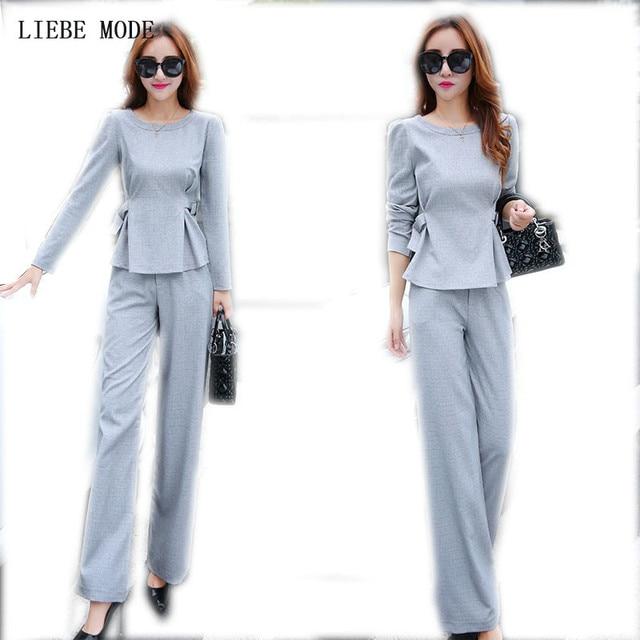Jacket Trousers 2 Piece Las Office Wear Suit Grey Pink Womens Business Sets