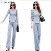 Office Ladies Work Wear Pants Suit Grey Womens Business Two 2 Pieces Sets Top With Trousers Formal Pantsuits For Women Outfit