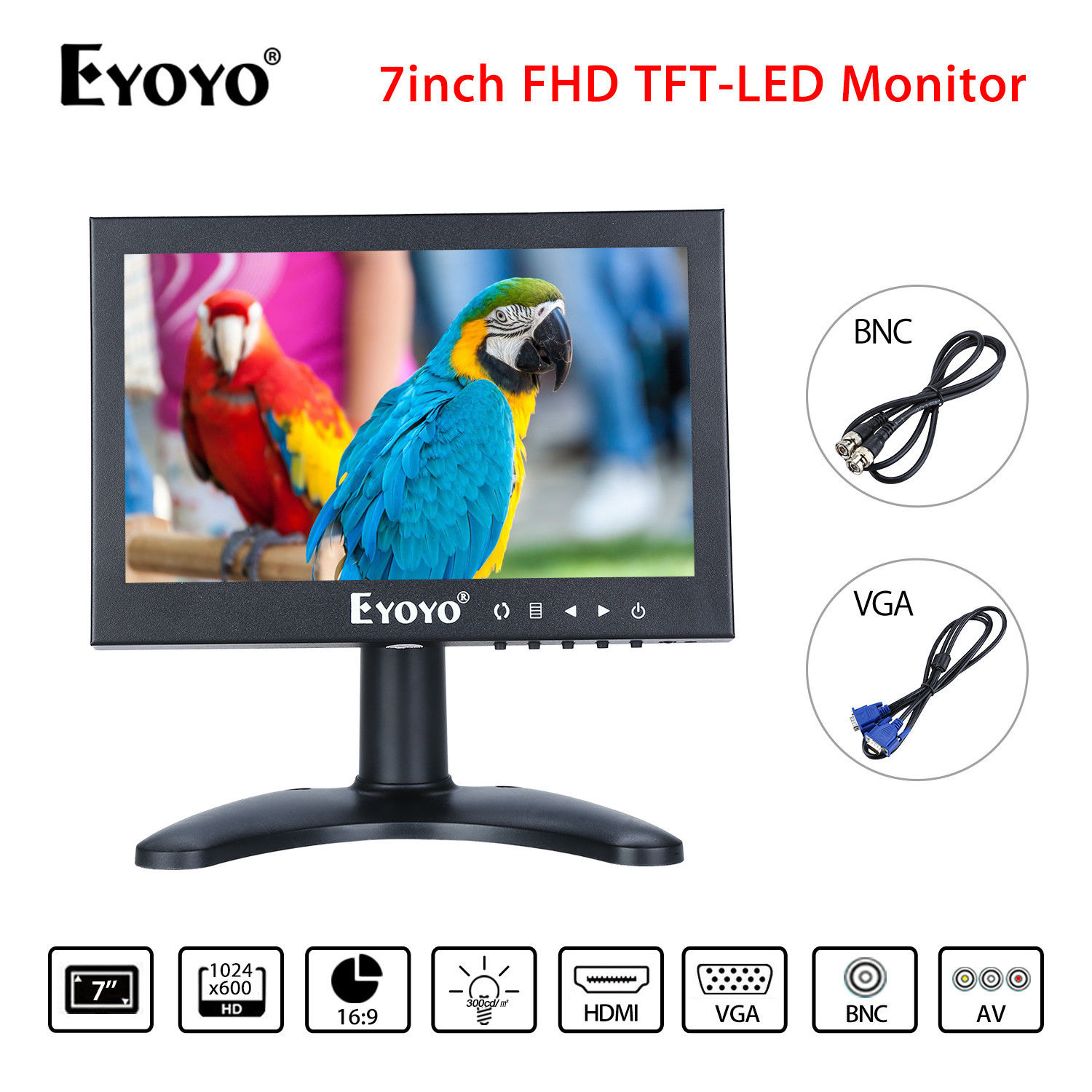EYOYO 7'' FHD TFT LCD Screen 75degree HDMI BNC VGA AV Video Monitor For CCTV PC DVD DVR Security Camera TV