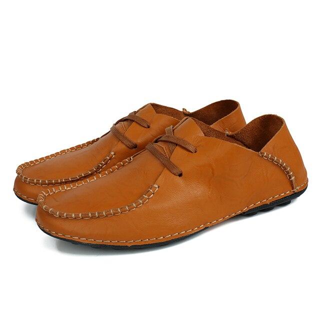 Натуральная Кожа Мужчины Повседневная Обувь Черный Коричневый Мужчины Квартиры Мода Мокасины Кожаные плоские оксфорд обувь Zapatos Hombres