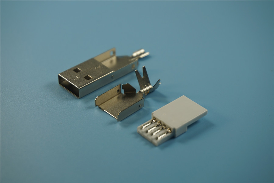 5 Sets DIY USB 2.0 A Type Male Connector Assembly Adapter Plug Socket Metal Shell Shield Solder Wire