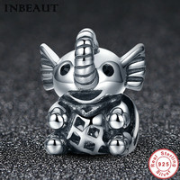 INBEAUT Women Animal Jewelry Making 925 Sterling Silver Small Lovely Elephant Necklace Pendant Charm Fit Pandora