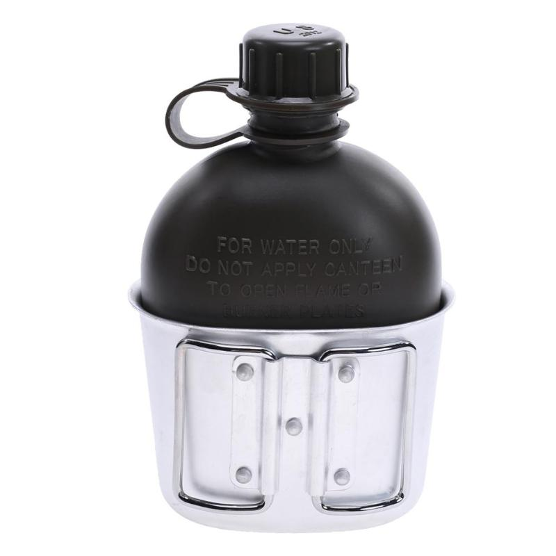 Outdoor Heavy Cover Army Water Bottle Aluminum Cooking Cup US 1L Military Canteen Camping Hiking Survival Kettle Tableware