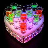 Светоизлучающий подстаканник Кристалл пули стойка Персиковое сердце Коктейльная стойка светодиодный бар ночной показ держатель для вина