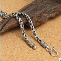 4mm long necklace 60cm neckless silver chain men fashions necklaces silver 925