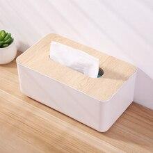 Пластиковая коробка для салфеток с деревянным покрытием для дома, кухни, контейнер для салфеток, коробка для носовых платков, белая короткая коробка для бумажных салфеток, Органайзер