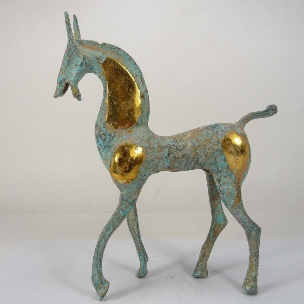 Décoration de statue de cheval en cuivre