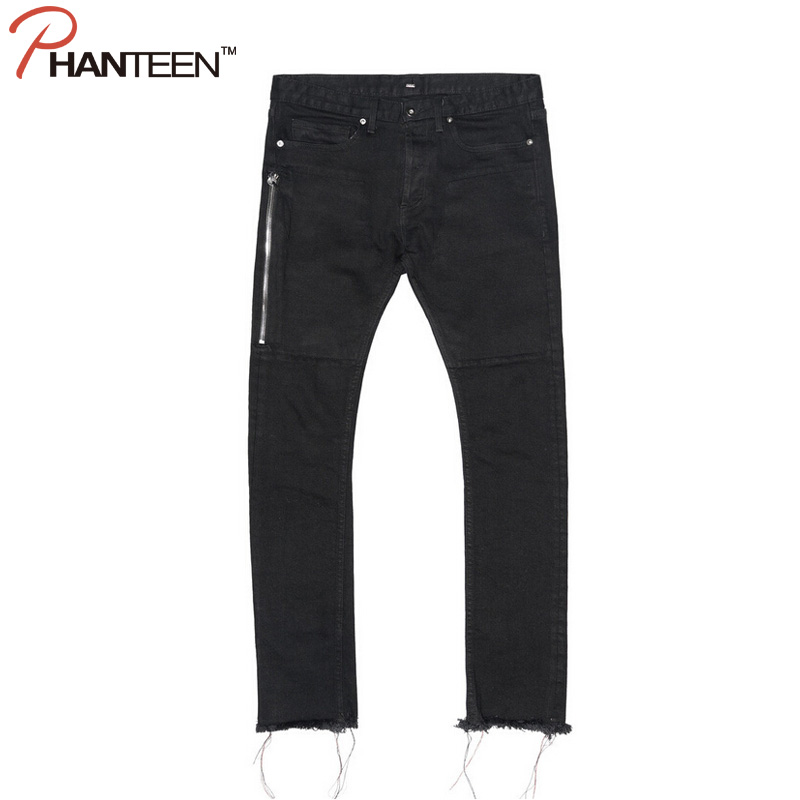 ФОТО Kanye West Justin Bieber Brand Man Jeans Hiphop Slim Fit Side Zipper Ripped Casual Street Style Jeans Fashion Men Clothing