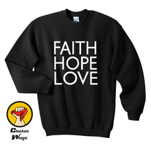 Faith Hope Love Shirt Top Dope Swag Tumblr Hipster Top Crewneck Sweatshirt Unisex More Colors XS - 2XL цены