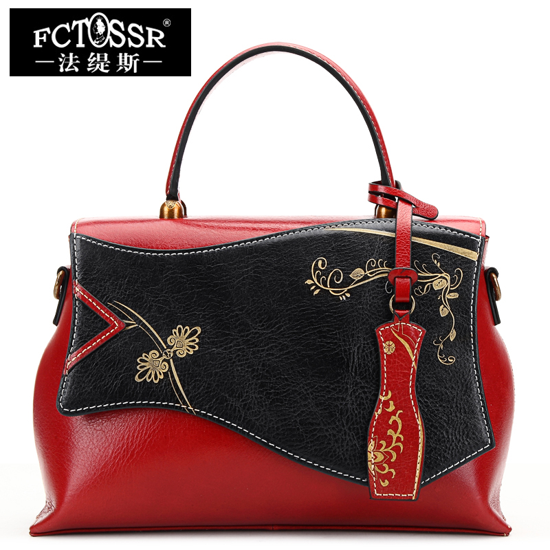 2018 Latest Women Handbag Top handle Genuine Leather Shoulder Sling Bag Ladies Cheongsam Hand Bag Painted Women Messenger Bag