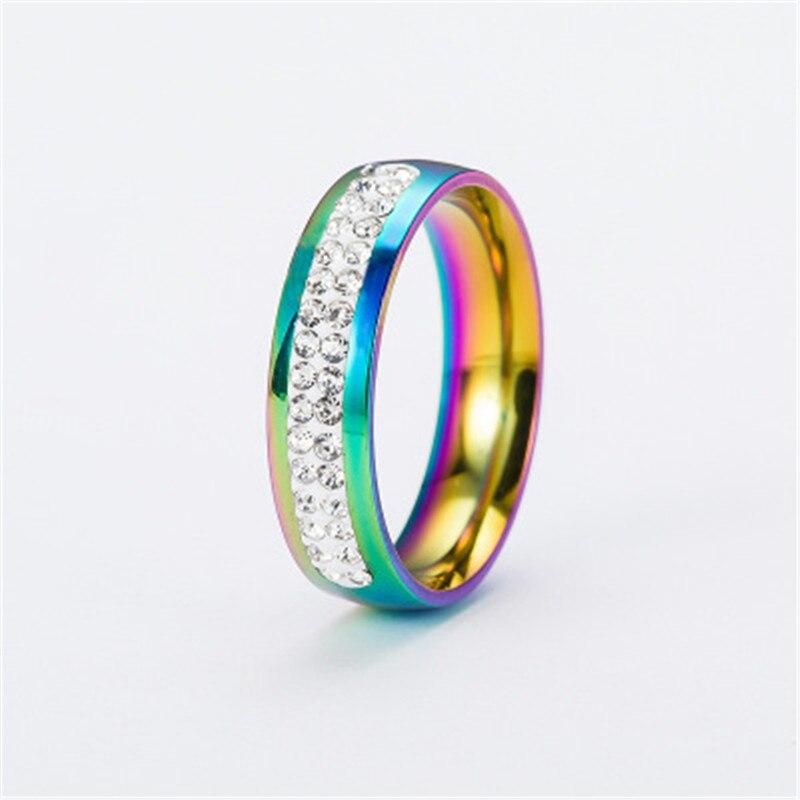 e-shine finger rings for women rainbow colour titanium steel material classic style barnd fashion jewelry