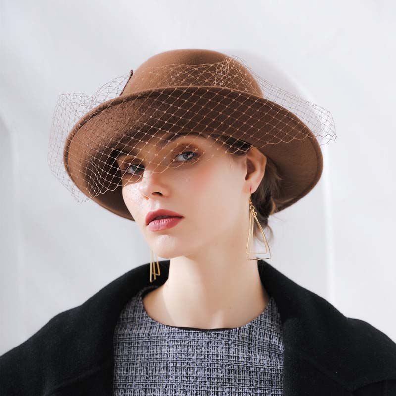 8af4c3371cede ... QDKPOTC 2018 Autumn Winter Trilby Hat Female volume Brim Fedoras Wool  Felt Dome Floral Bowler Women ...