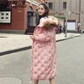 New Coreano Real Fur Long Down Jacket Wide-cintura 2016 Moda Feminina Inverno Parkas Jaqueta Com Zíper Plus Size Solto Casaco grosso