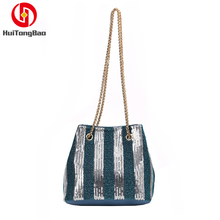 Women Sequined Shoulder Messenger Bag Fashion Wild Striped Handbag Crossbody Bags for Purses and Handbags