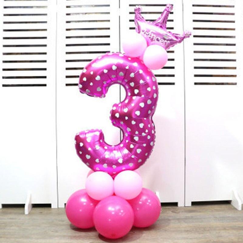 32-дюймовый Цифровой шар детское платье для дня рождения с рисунком надувной детский День рождения украшения вечерние шляпа воздушный шар для колонны игрушка - Цвет: Pink number 3
