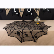 102cm Halloween Spider Round Web lace black cloth Tablecloth Topper Covers Fireplace Table Party Decor prop Kitchen accessories