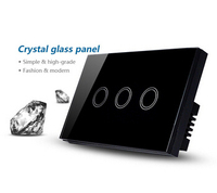 US AU Standard Touch Wall Switch 3 Gang 1 Way Black Crystal Glass Panel Touch Screen