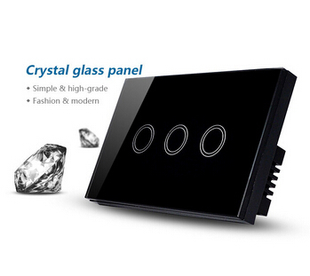 US / AU Standard Touch Wall Switch 3 Gang 1 Way,Black Crystal Glass Panel Touch Screen Light Switches AC110-240V home automation 3 gang 2 way us au standard smart touch switch crystal glass panel wall light controler