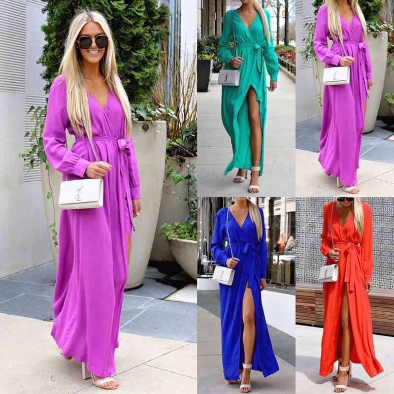 Для женщин длинное богемное пляжное платье v-образным вырезом укороченный рукав одноцветное Цвет летние пляжные женские Разделение модные ...