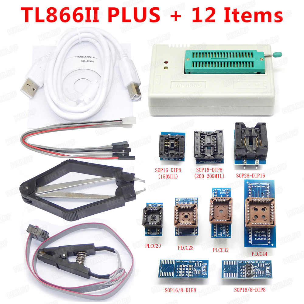 XGECU Best quality TL866ii Plus Programmer +12 Items Support MCU AVR EEPROM EPROM 27 28 29 37 39 49 50 Series chips-in Integrated Circuits from Electronic Components & Supplies
