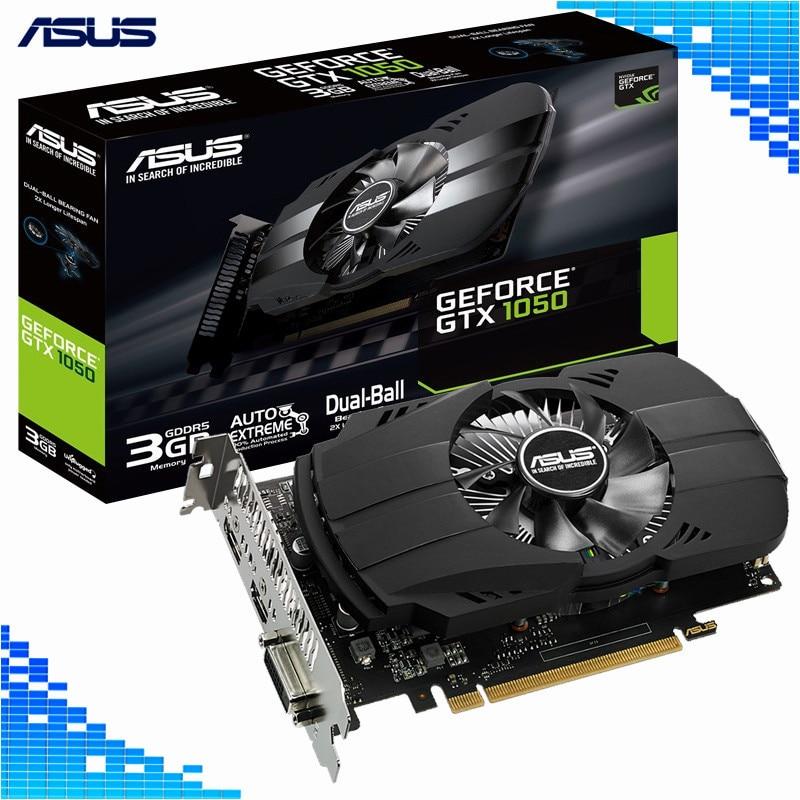 Asus PH-GTX 1050-3G Vidéo Jeu Cartes Graphiques DVI HDMI DP 128Bit GDDR5 PCI Express 3.0 16X GeForce GTX 1050 Carte de jeu